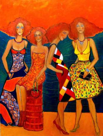 Three with one dressed up in the summer. - Krystyna Ruminkiewicz