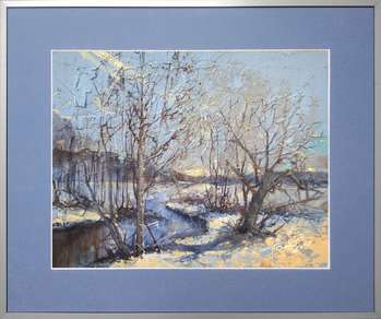 Narewka in winter III painting, 35x45 cm in passe-partout and 50x60 cm frame - Krzysztof Trzaska