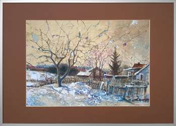 """Narewka in winter II"" painting, 35x50 cm in passe-partout and 50x70 cm frame - Krzysztof Trzaska"