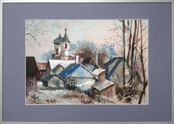 Narewka in winter, painting, 35x50 cm in passe-partout and 50x70 cm frame - Krzysztof Trzaska