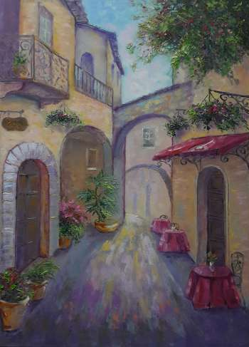 painting * Cozy street * Оil on canvas 65x90cm - Kseniya Kovalenko