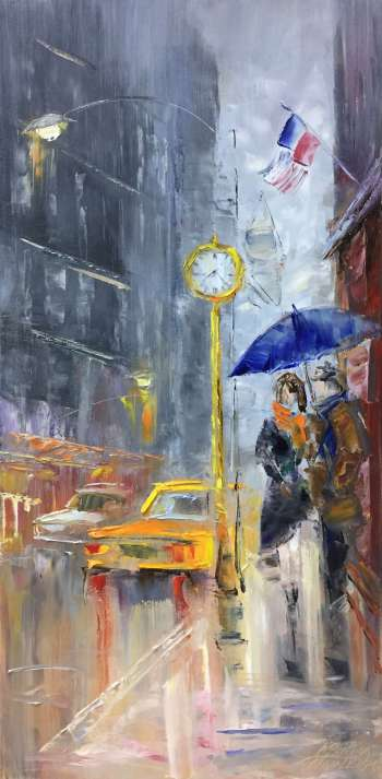 painting *Evening New York*Oil on canvas 40x80 cm  - Kseniya Kovalenko