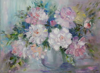 painting * Gentle peonies * Oil on canvas 80x60 cm - Kseniya Kovalenko