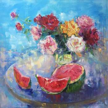 painting * Juicy Watermelon * Summer Still Life - Kseniya Kovalenko