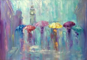 painting *Romantic rain*Оil on canvas 100x70cm - Kseniya Kovalenko