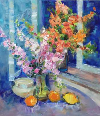 painting * Spring flowers still life * Оil on canvas 70x80cm - Kseniya Kovalenko