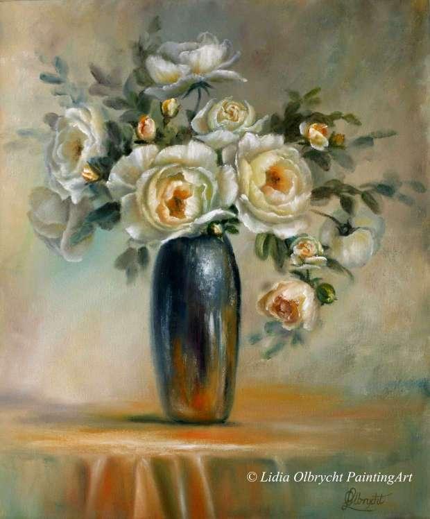 Bardzo dobra Stare Róże, kwiaty w wazonie, martwa natura - Lidia Olbrycht WA54