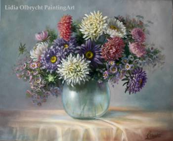 Asters - flowers in a vase - Lidia Olbrycht