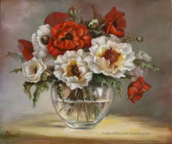 poppies - flowers in a vase, nature - Lidia Olbrycht