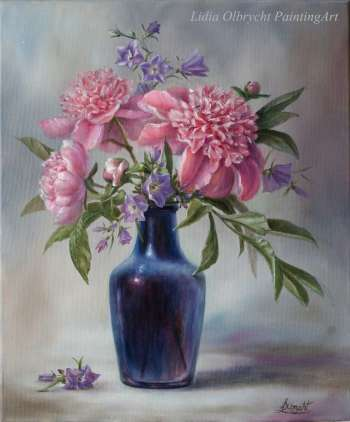 Peonies and Bluebells - Lidia Olbrycht