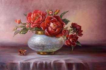 Roses in a pearl vase - Lidia Olbrycht