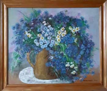 Cornflowers in a vase - Lucyna Pomianowska