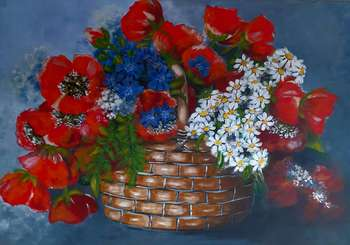 Poppies in the basket - Lucyna Pomianowska