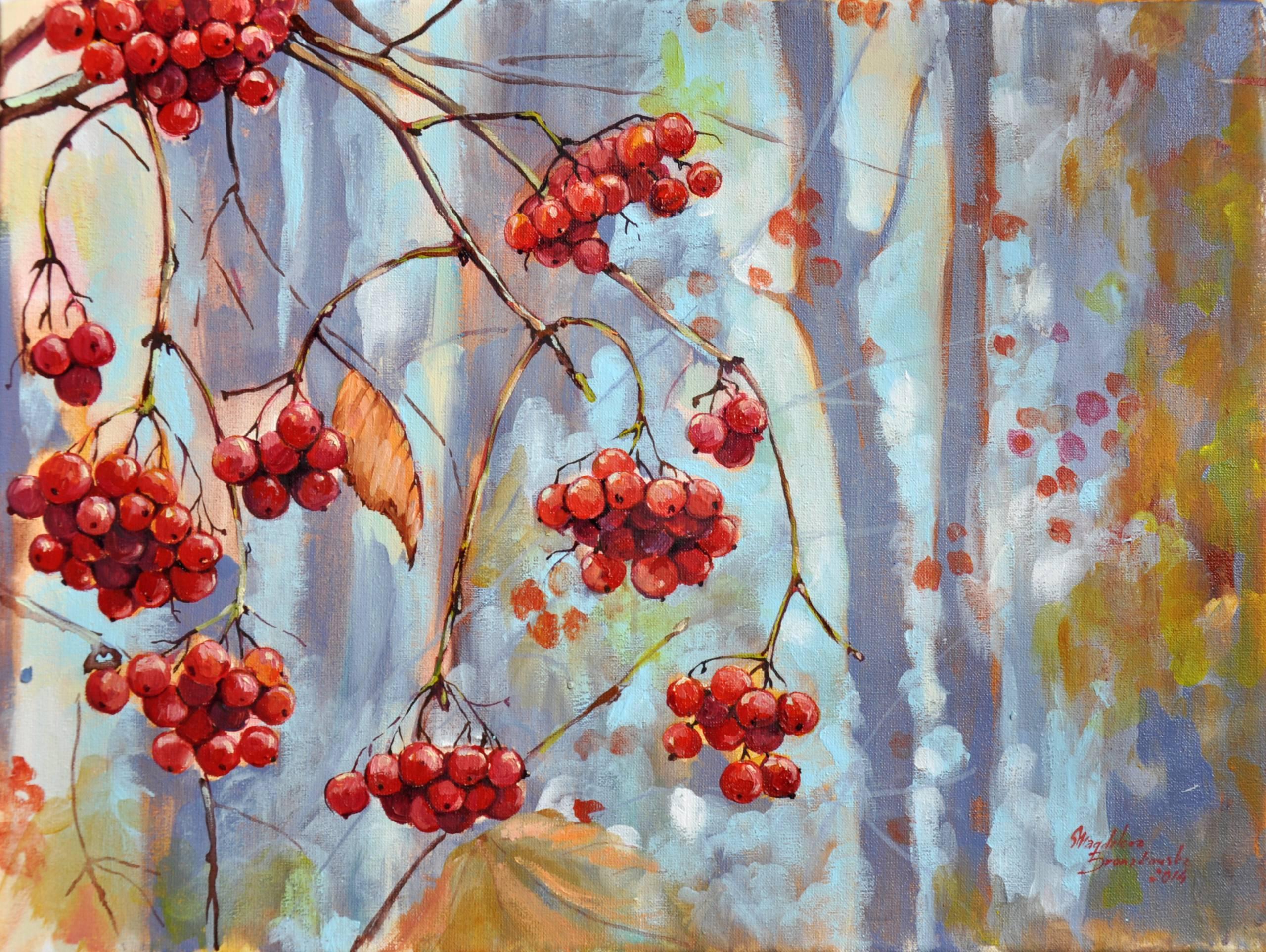 Рисунки калины осенью