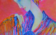 Painting with a woman - Lady Pink 30 x 40 - Magdalena Walulik