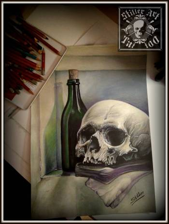 Skull with bottle. - Małgorzata Wagner