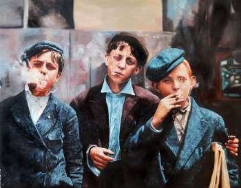 Newspaper readers smoking St. Paul's Louis 1910 - Marek Pękacz