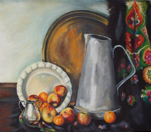 Still Life with highland scarf Marek Sabat