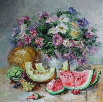 Still life with melon and watermelon - Marina Kozlowska
