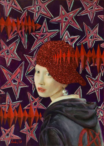 Girl with a Pearl Earring and Glitter Cap - Mariusz Krzysztof Aniśko
