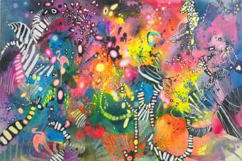 """Abstraction with a toucan and flamingoes"" - Marlena Majchrzak"