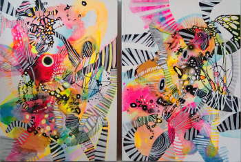 « Abstract 43,44 organique « - diptyque - Marlena Majchrzak