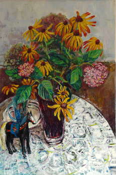 Flowers in a vase and a wooden horse - Marta Zygmunt