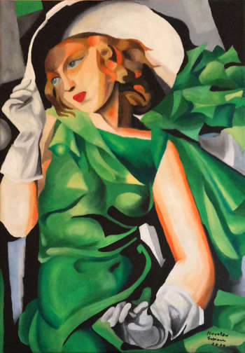 Reproduced by Tamara Łempicka. A girl in a green dress - Mirosław Sobiech