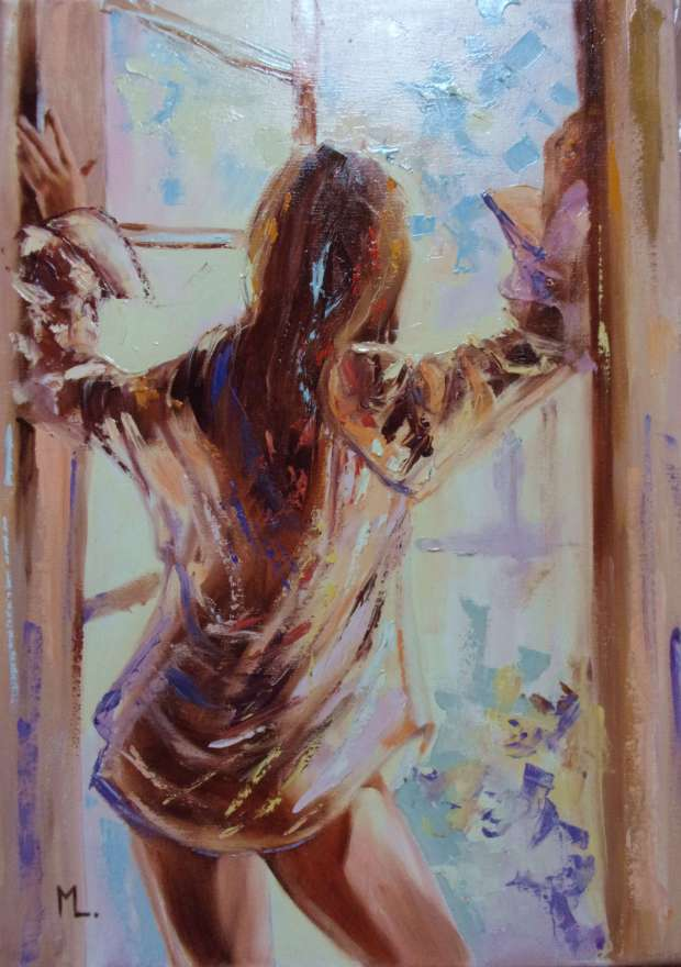 """ A WINDOW ... ""- liGHt ORIGINAL OIL PAINTING, GIFT, PALETTE KNIFE (2018) Monika Luniak"