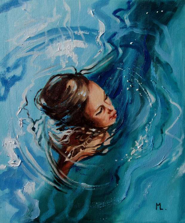 """BLUE ..."" SEA original painting palette knife GIFT MODERN Monika Luniak"