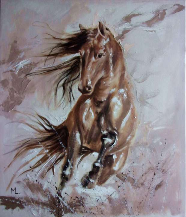 """ HORSE "" - original oil painting on canvas, gift, PALETTE KNIFE (2018) Monika Luniak"