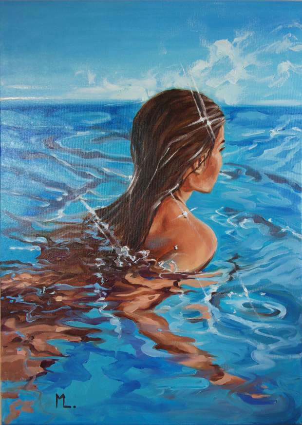 """ JUST BLUE II "" 50 x 70 cm SWIMMING POOL original painting PARADISE GIFT MODERN  Monika Luniak"