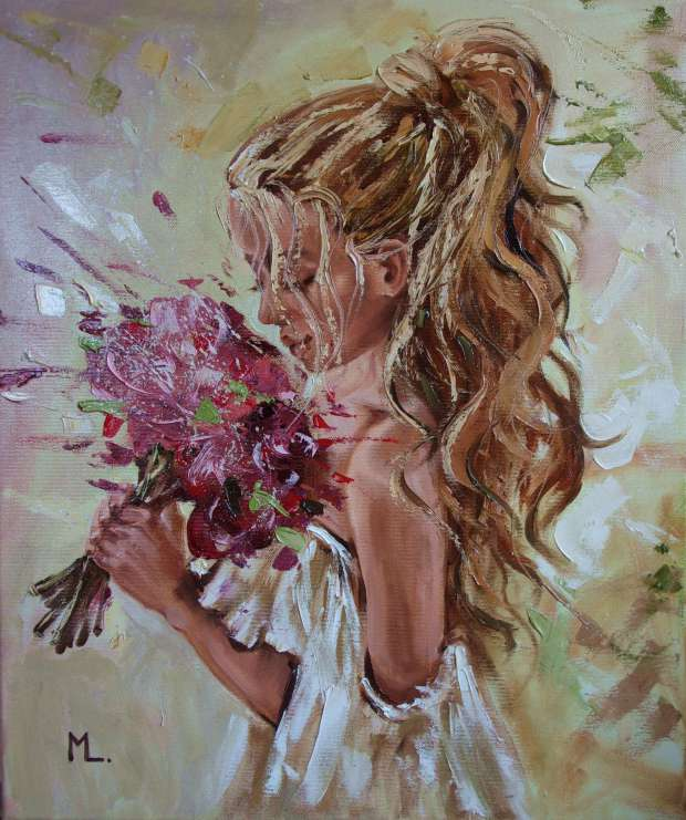 """ SPRING LOVE ... ""- flowers liGHt ORIGINAL OIL PAINTING, GIFT, PALETTE KNIFE (2018) Monika Luniak"