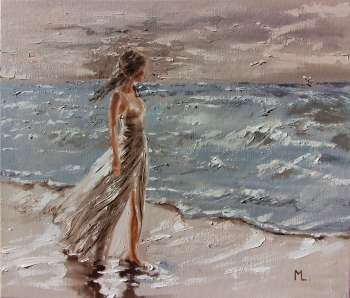 """ BY THE SEA ... ""- SKY SEA SAND liGHt ORIGINAL OIL PAINTING, GIFT, PALETTE KNIFE (2018) - Monika Luniak"