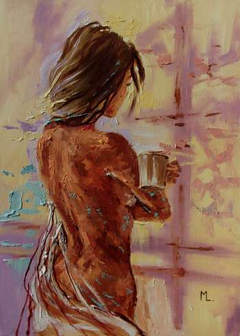 """ COFFEE TIME "" - 50x70cm original oil painting on canvas, gift, palette kniffe (2018) - Monika Luniak"