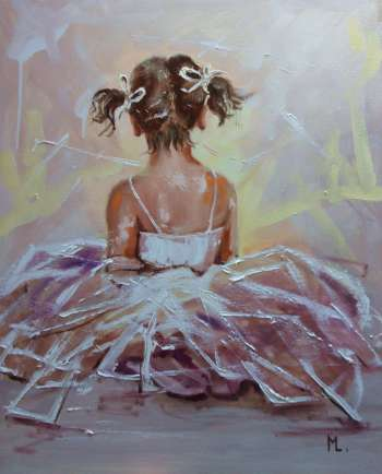 """ LITTLE DANCER ""- ballerina liGHt ballet ORIGINAL OIL PAINTING, GIFT, PALETTE KNIFE (2018) - Monika Luniak"