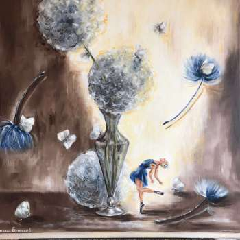 Dobroć, oil painting, surrealism, symbolism, realism, shop of paintings, Ideal gift, flowers painting, oil home decor, art flowers, Handcrafting, - Natalia Butenko  (Sky Pearl)