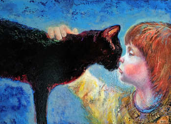The girl and the cat - Natalia Pastuszenko