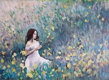 Young lady in flowers - Olga Lisiewicz