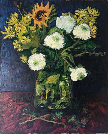Vase with Chinese asters and sunflower - Piotr Cieślik