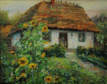 Rural cottage with sunflowers. - Piotr Pawelczyk