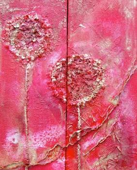 Red & gold poppy diptych - Rachel McCullock