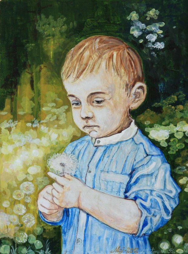 Рисунок мальчик с одуванчиком