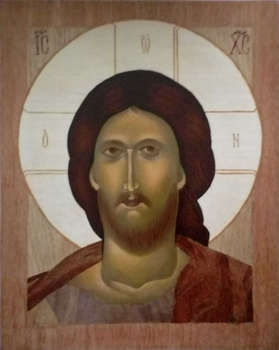 Icon painted in inlay - Christ pantokrator - Sebastian  Szczepański