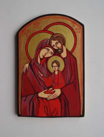 Holy Family. Author Icon on an old wooden board - Stanisław Polaniak