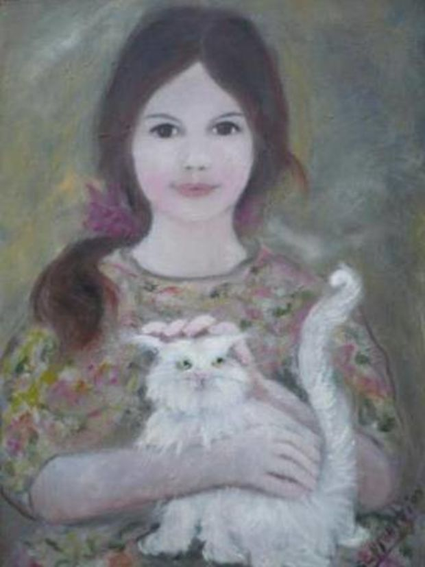 Nicol with a cat Stefania Cappelletti