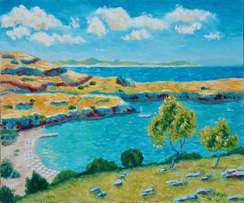 Rhodes.View to the beach of Lindos - Svetlana Grishkovec-Kiisky