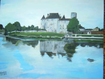 castle from the thirteenth century in Nemours in France and flowing bobr - Urszula Wasinska