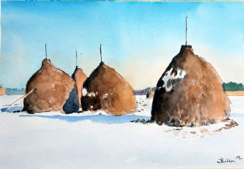 Haystacks in the winter - Zdzisław Rutkowski