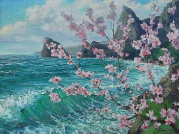 Blooming apricot by the sea. - Самойлик Елена